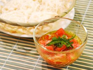 トマトのイタリアンそうめん。しらす&青じそ入り。オリーブオイルで♪【農家のレシピ帳】
