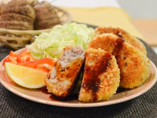 里芋とひき肉の焼きコロッケ。里芋のねっとり感が美味しい!【農家のレシピ帳】