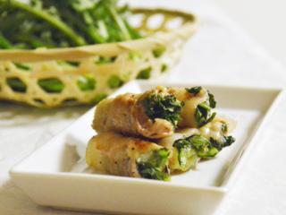 春菊とチーズの肉巻き。お弁当のおかず、おつまみに♪【農家のレシピ帳】
