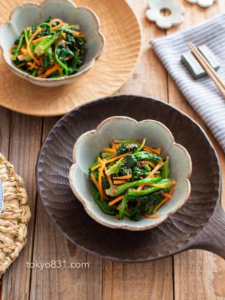 ほうれん草と人参のおかかポン酢。簡単にできる彩り副菜♪【農家のレシピ帳】